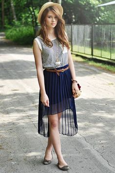 hat, stripes, and high low skirt
