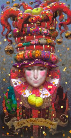 Victor Nizovtsev ... I can't tell if this is a painting (the face and scroll look three dimensional - but the rest of the piece looks 2-dimensional). But whatever it is, it's absolutely enchanting!