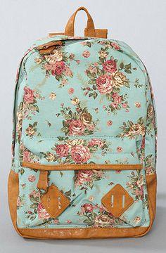 Flower Printed Backpack in Mint