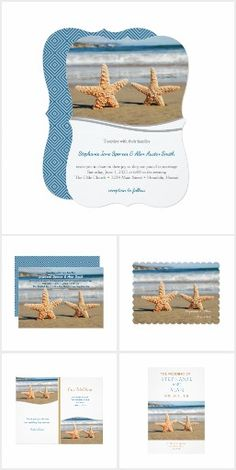 Starfish Couple Beach Wedding Invitation Collection | A starfish couple posing on the beach with the surf in the background is a perfect backdrop for these beach wedding products. Perfect for destination or beach weddings.