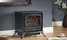 VonHaus Free Standing Electric Stove Heater Portable Home Fireplace with Log Burning Flame Effect Adjustable x x inches - Black) Electric Stove Fireplace, Portable Electric Fireplace, Electric Fireplace Reviews, Portable Electric Heaters, Portable Heater, Portable House, Stove Fan, Stove Heater, Home Fireplace