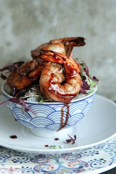 pomegranate glazed shrimp by Heather Christo - yum! Fish Recipes, Seafood Recipes, Great Recipes, Cooking Recipes, Favorite Recipes, Seafood Dishes, Fish And Seafood, Best Food Ever, It Goes On