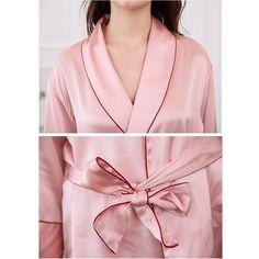 8559580caf1e Silk Robe Wrap Pajama Set with Sexy Burgundy Piping