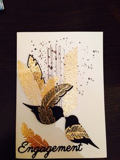 Engagement card made using Stampin Up four feathers and gorgeous grunge. Love it. ☺️