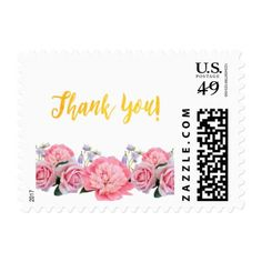 thank you pink flowers roses peony on white postage