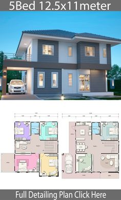 House design plan with 5 bedrooms. Style Modern TropicalHouse description:Number of floors 2 storey housebedroom 5 roomstoilet 2 roomsmaid's room House Plans Mansion, Sims House Plans, House Layout Plans, Duplex House Plans, Family House Plans, Dream House Plans, House Layouts, 2 Storey House Design, Simple House Design