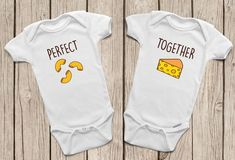 Cute Onesies for Twins: Adorable mac and cheese onesies from MamiOrigami on Etsy. Star Wars Onesie, Twin Baby Gifts, Cute Onesies, Cute Twins, Perfect Together, Baby Images, Best Friend Shirts, Twin Babies, Baby Boys