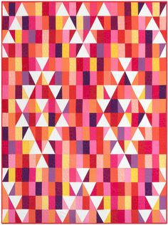 Mosaic Mountains Warm Color story Quilt kit by Robert Kaufman. Modern triangle quilt pattern. Modern solids quilt pattern. affiliate link.