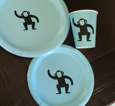 Monkey Party Pack - Monkey Plates - Gorilla Cups - Zoo Baby Shower - Animal Birthday - Party Plates - First Birthday Cups - Circus Theme Cup by SteshaParty on Etsy https://www.etsy.com/listing/240887715/monkey-party-pack-monkey-plates-gorilla