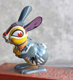 Vintage Gray Tin Toy Rabbit, bellalulu on Etsy