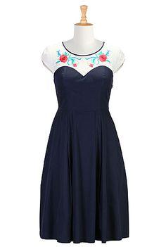 Floral yoke poplin dress -Sweetheart neckline with flowers-beautiful