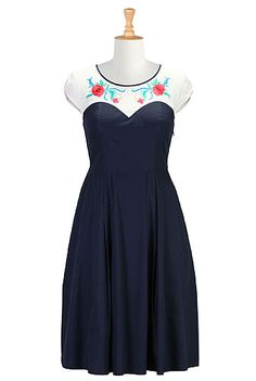 I <3 this Floral yoke poplin dress from eShakti - especially since I can get it ordered in a custom size! $42.95