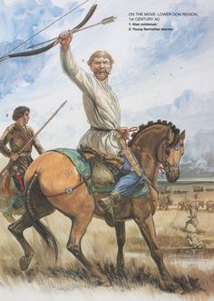 On the move:Lower Don region,1st century AD. 1:Alan nobleman.2:Young Sarmatian warrior.