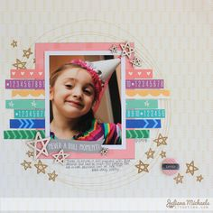 Never A Dull Moment *Elle's Studio* - Scrapbook.com - Great way to use the strips on the bottom of patterned papers!