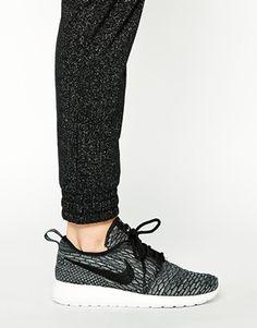 on sale f65e0 74cde Enlarge Nike Rosherun Flyknit Grey   Black Trainers Nike Shoes Cheap,  Running Shoes Nike,