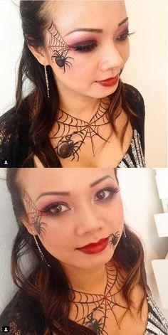 Black widow spider face paint Bridesmaid Makeup Natural, Simple Prom Makeup, Natural Summer Makeup, Halloween Makeup Witch, Halloween Make Up, Halloween Parade, Halloween 2016, Spider Face Painting, Adult Face Painting