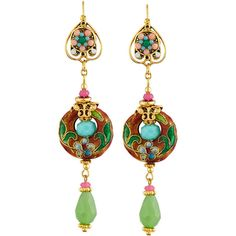 Jose & Maria Barrera Linear Floral Cloisonn& Drop Earrings ($240) ❤ liked on Polyvore featuring jewelry, earrings, multi, 24 karat gold jewelry, floral drop earrings, floral jewelry, jose maria barrera earrings and 24-karat gold jewelry