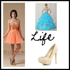 """""""Orange Red A-line Sweetheart Mini-length Organza Beading Prom Dress"""" by pageantdress on Polyvore"""