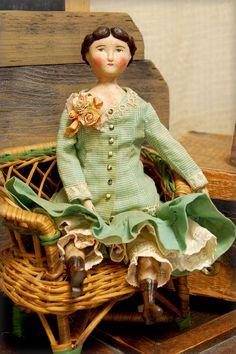 "Henriette Avis, 9.5"". Artist made papier mache doll, custom period clothing."