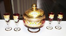 Lot Of Victorian Glass Seyei Candy dish, 4 Cordials and Decanter