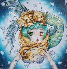 Manga Coloring Book, Adult Coloring, Coloring Books, Faber Castell, Manga Mermaid, Mermaid Artwork, Polychromos, Pop Surrealism, Kawaii