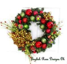 Christmas Wreath * Red and Green Wreath * Ornament Wreath * Christmas Decor * Front Door Wreath * Holiday Wreath * English Rose Designs Oh by englishrosedesignsoh on Etsy