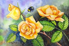 SOLD - ORIGINAL WATERCOLOR PAINTING  Yellow Roses and by OriginalSandMore, $60.00