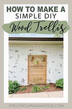 how to make a simple diy wood trellis Wood Trellis, Concrete Bricks, Wood Slats, Hanging Planters, Simple Diy, Easy Diy, Lattice Patio, Old Tee Shirts, Saw Wood