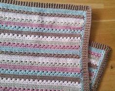 handmade crochet baby blanket, stripes,  baby shower gift, ready to ship