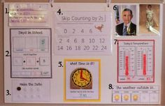 """Tri-fold board  which consolidates multiple morning """"circle"""" activities in one place:  100's chart, days in school, skip counting, weather station, today's temp, country leaders to pray for.  Great for the space crunched homeschooling mom."""