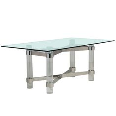 A Superb Lucite and Chromium Steel Based Dining Table 1970s | From a unique collection of antique and modern tables at https://www.1stdibs.com/furniture/tables/tables/