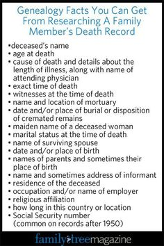 Genealogy Workbook: Death Records Genealogy Records Workbook: Where to Look for Death Records – Family Tree Magazine Free Genealogy Sites, Genealogy Forms, Genealogy Chart, Genealogy Research, Family Genealogy, Free Genealogy Records, Genealogy Quotes, All Family, Family Trees