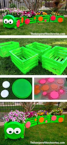 Caterpillar Wood Crate Planter MATERIALS: Wooden Crates Wood discs Clay pot Base (one large base and 2 small bases) Lime green, hot pink, and bright orange spray paint (outdoor/ weather rated) White and black paint (outdoor/ weather rated) Strong adhesive (I used Gorilla Gel Super Glue HERE) Wire Flowers DIRECTIONS: Start off by spaying your wood crates lime green Spray your small wood discs bright orange and pink Paint your small clay pots white and add black centers Once everythin...