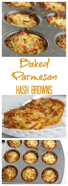 Easy parmesan hash browns baked in muffin cups for crispy edges and soft centers. Easy parmesan hash browns baked in muffin cups for crispy edges and soft centers. Prep the night before and bake in the morning for breakfast or brunch. Weight Watcher Desserts, Yummy Food, Tasty, Breakfast Dishes, Breakfast Potatoes, Breakfast Potato Recipes, Baked Hashbrown Recipes, Breakfast Hash Browns, Casserole Recipes