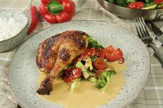 Den här goda kycklingrätten tar 1 timme och 15 minuter att laga. Ugn: 175 grader.