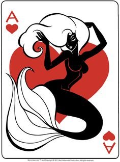 Valentine Black Mermaid™ (Ace of Hearts) Launched Black Mermaid, The Little Mermaid, Mermaid Mermaid, Vintage Mermaid, Mythical Creatures, Sea Creatures, Mermaid Board, Ace Of Hearts, Mermaids And Mermen