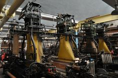 Jacquard Looms in factory setting.