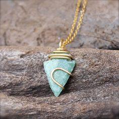 Green Arrowhead Necklace  Wire Wrapped by MermaidTearsDesigns
