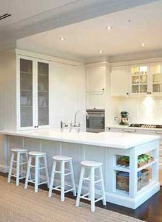Rather than having an island, this kitchen is an L shape