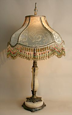 Nightshades - Chinoiserie Beaded Vintage Fabric Bird Lamp