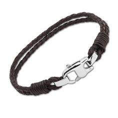 UNIQUE Unisex Dark Brown Leather bracelet with stainless steel clasp 19cm - Be Charmed Jewellery £31.95