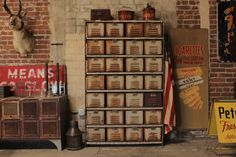 This would be great for basement organizing!  Vintage Industrial Locker Rack.