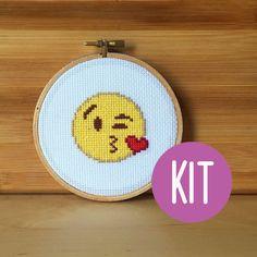 CROSS STITCH KIT: Throwing a Kiss Emoji Cross by jimjamcrafts