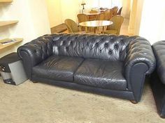 Time-softened black leather Chesterfield sofas in good condition. Perfect for reception/breakout areas. Used Office Chairs, Used Office Furniture, Second Hand Chairs, Breakout Area, Reception Areas, Chesterfield Sofas, Couch, Black Leather, Home Decor