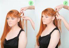 Начинайте плетение с одной стороны, перекинув волосы на другую