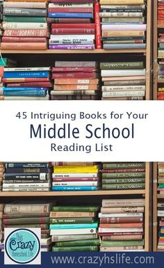 Use this middle school reading list to make it easy to find challenging and interesting books for your middle school students. #homeschool #homeschoolmiddleschool #middleschool #juniorhigh #homeschoolreading #readinglist