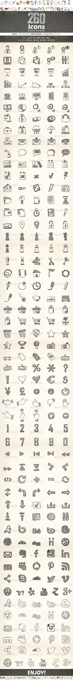 260 Hand Drawn Icons #GraphicRiver Set of 260 hand drawn vector icons. The icons are fully editable and well organized.