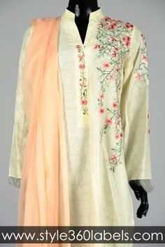 Sania Maskatiya - Buy Embroidered Net Top with Stole - Style360LABELS e-Store
