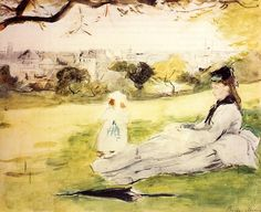 Woman and Child seated in a meadow, Berthe Morisot, 1871 | Artworks by style: Impressionism - WikiArt.org