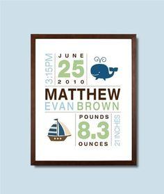 8x10 Birth Print for Boys Custom Nursery Art by potatopatch